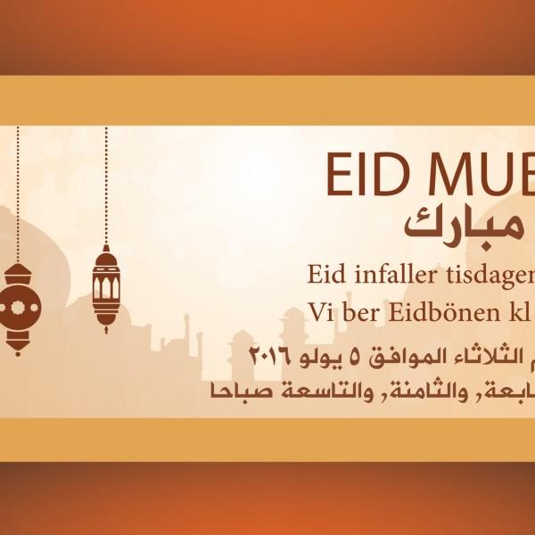 Eid bönetider i Stockholmsmoské tisdag den 5 juli 2016